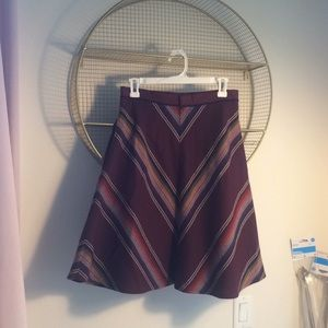 Burgundy stripe A line skirt